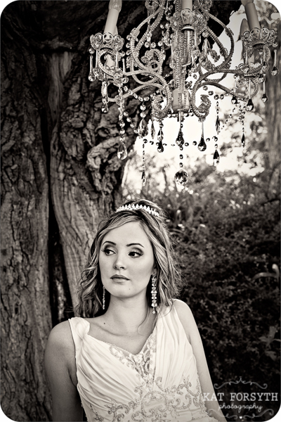 Chandelier in tree bridal portrait