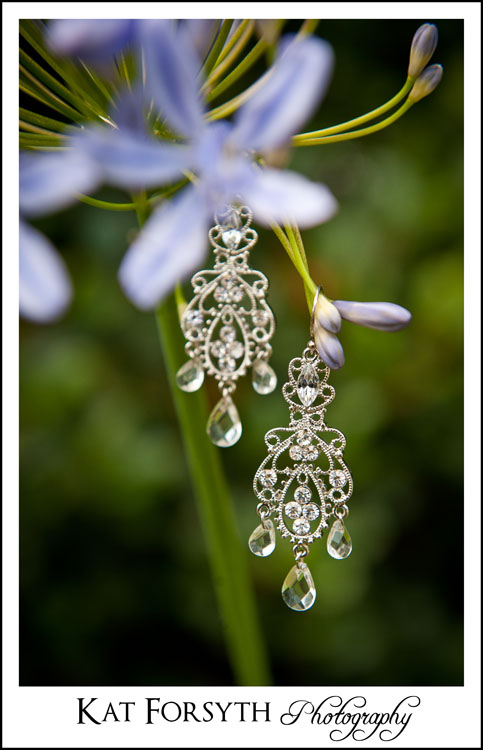 Wedding earrings creative photography UK