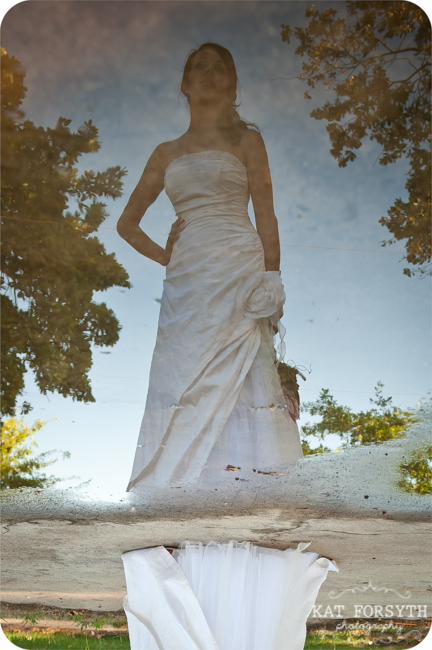 bride reflection water