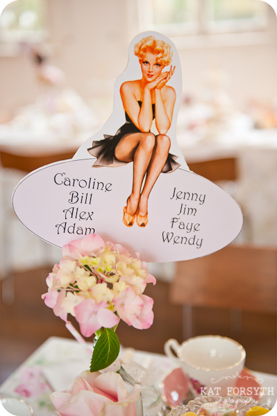 pinup girl wedding table lists