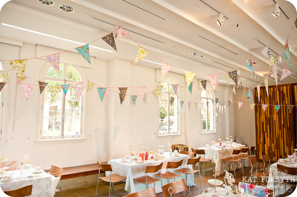 bunting at afternoon tea wedding