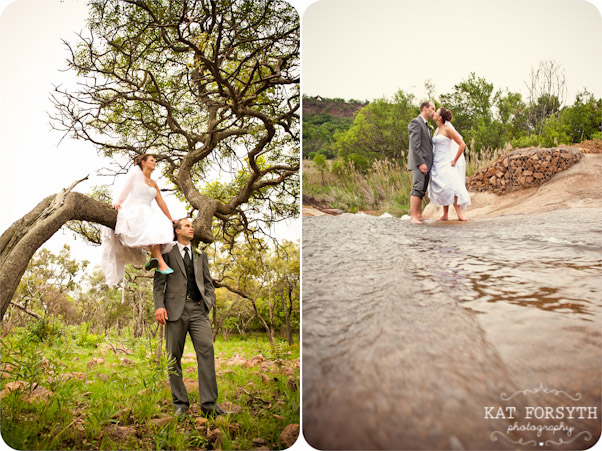 Adventurous wedding couple in tree and river
