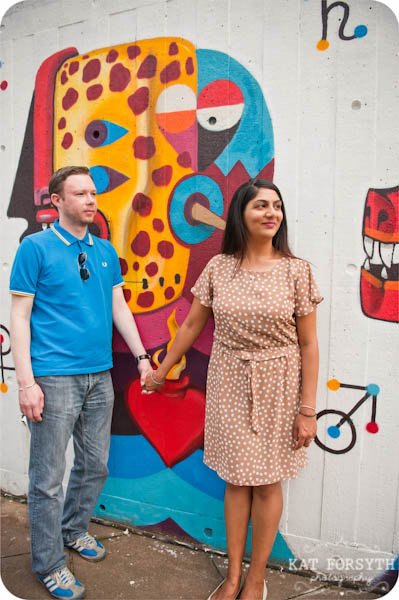 London southbank graffiti colourful engagement couple shoot (7)