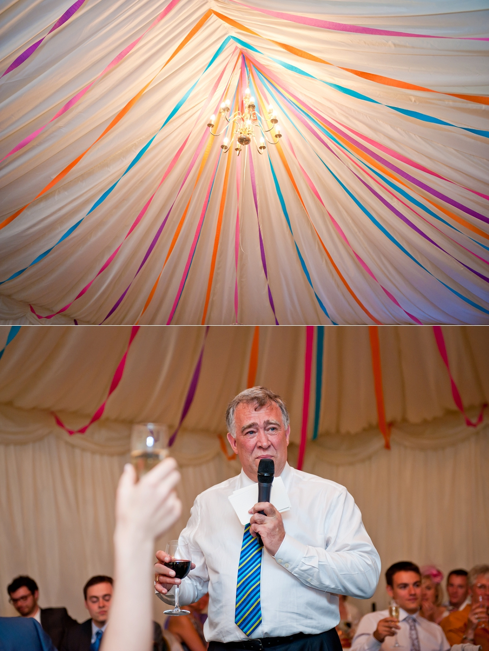 colourful streamers wedding decor