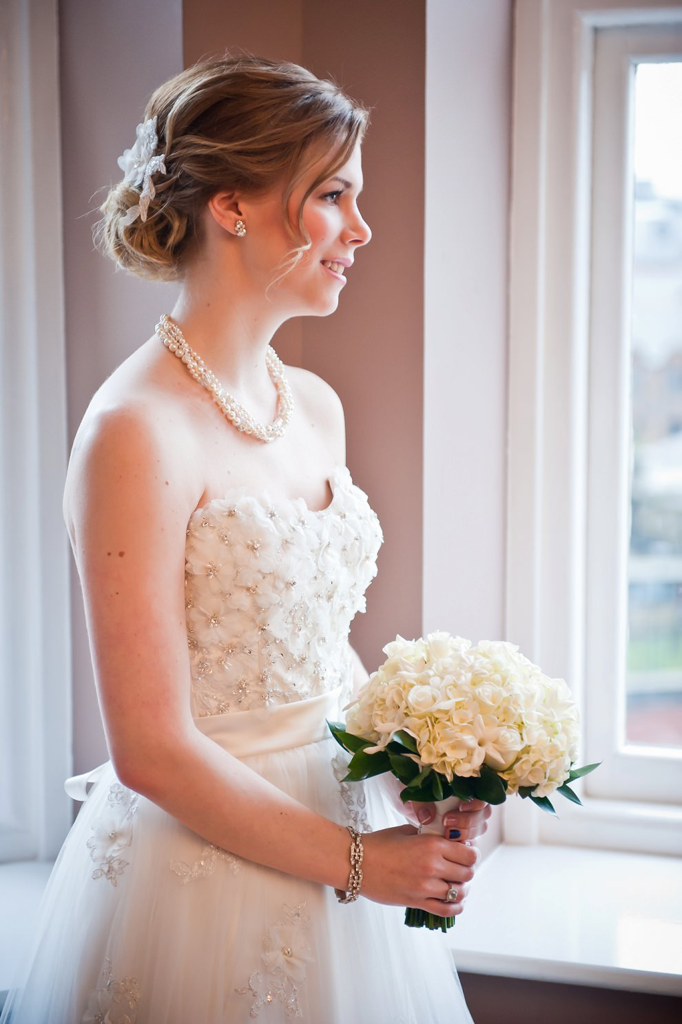 window light portrait bride