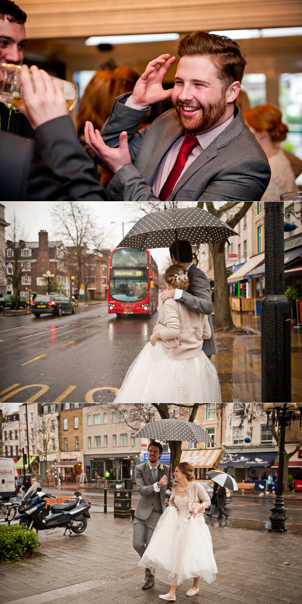 Rainy wedding London bus