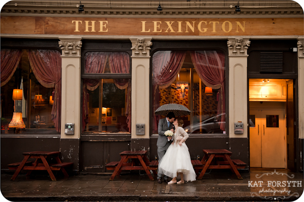 Rainy wedding Lexington Angel pub
