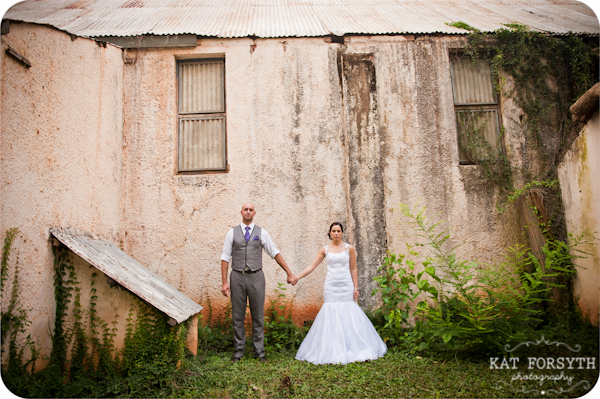 Wedding couple ruined building