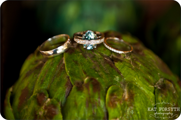Wedding rings on artichoke