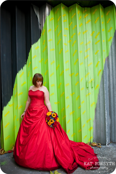 Graffiti Bride Red Dress Wedding
