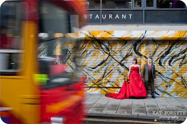 Red dress bride red bus wedding photo