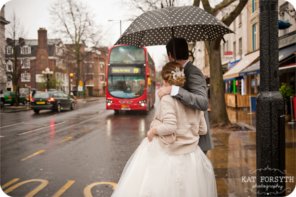 Rainy London wedding polka dot umbrella