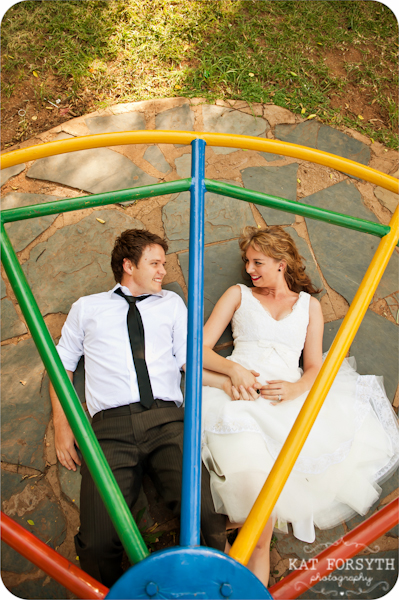 Playground quirky fun wedding couple