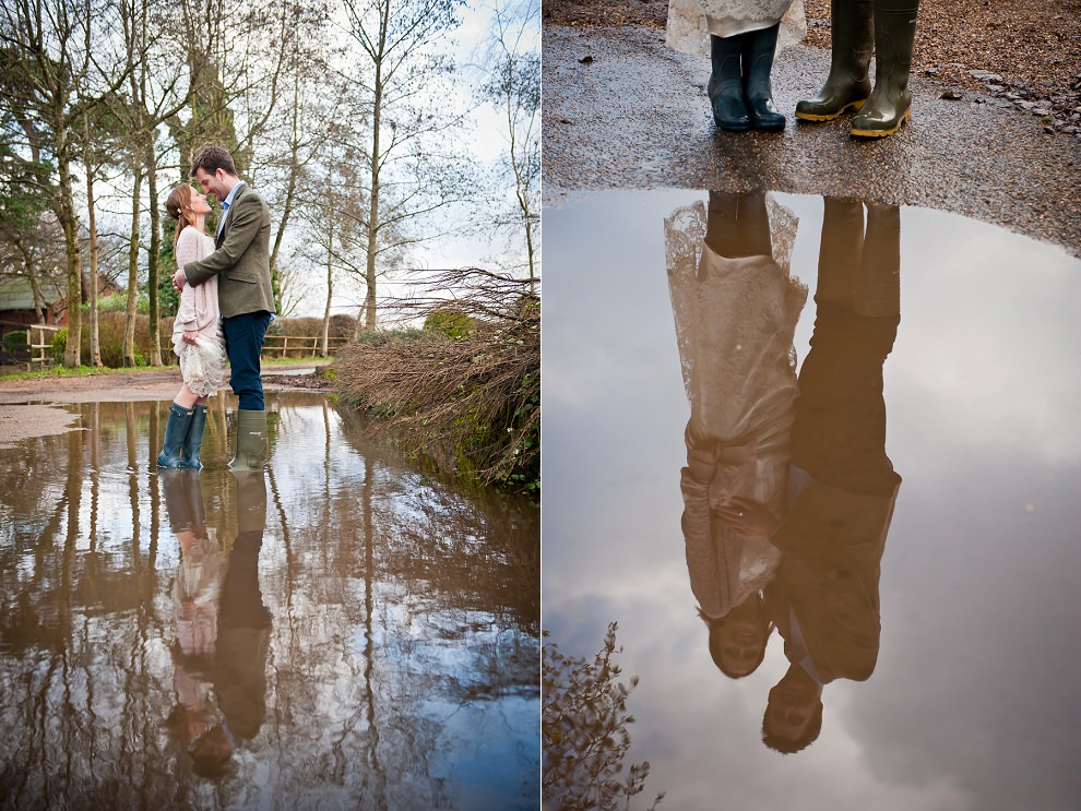 wedding rain puddle