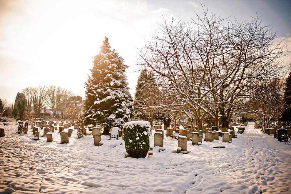 London snow wedding photos