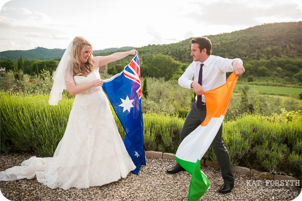 bride groom with flags
