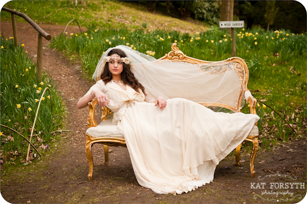 Bride on gold chaise