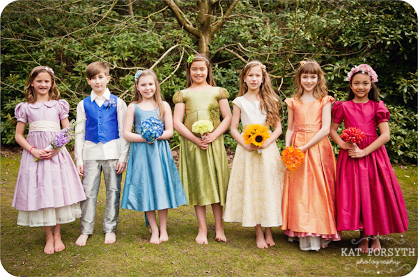 Rainbow bridesmaids flowergirls