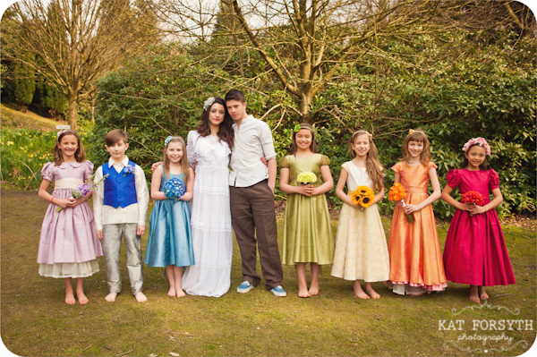 Rainbow flowergirls pageboy