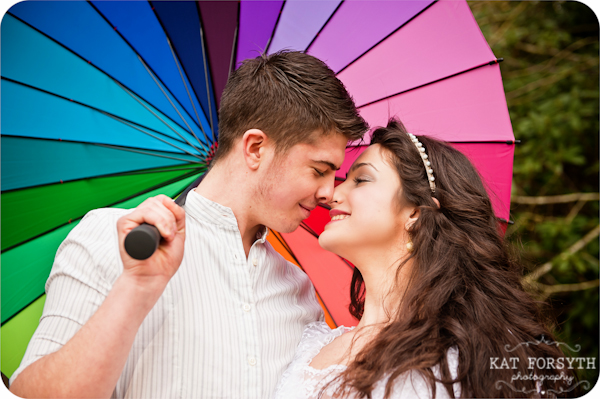 Rainbow umbrella wedding