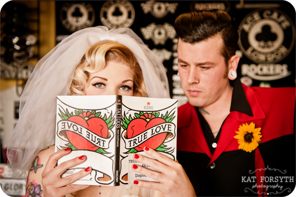 Tattooed bride & groom wedding