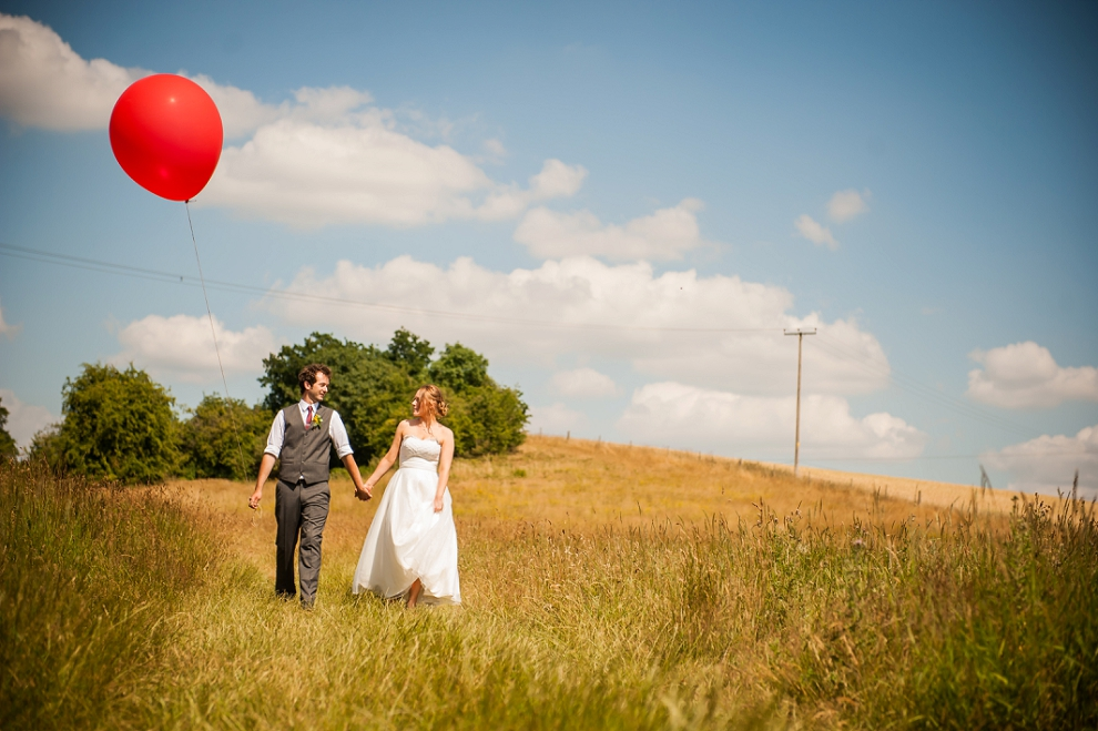 Giant red ballon wedding