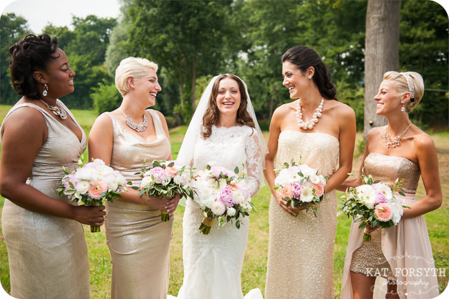 Mismatched cream gold sparkly bridesmaids dresses