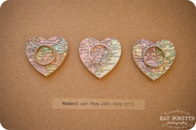 Wedding map heart Rings