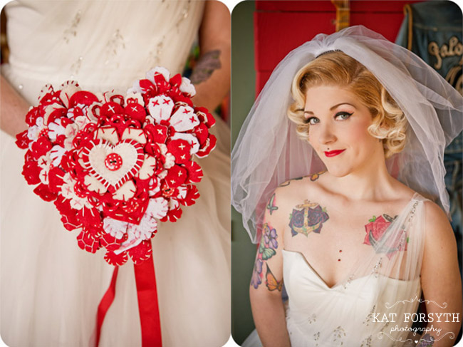 Tattoo bride felt heart bouquet