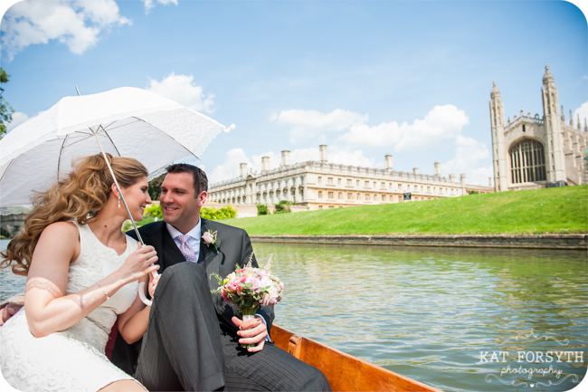 King's College Cambridge river wedding