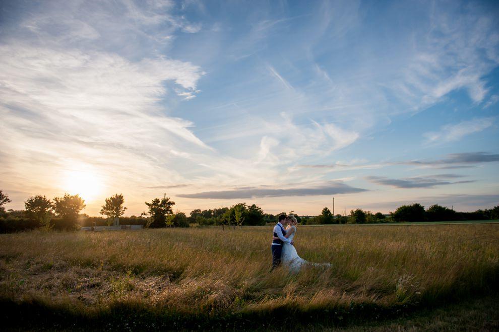 Sunset wedding moreves barn