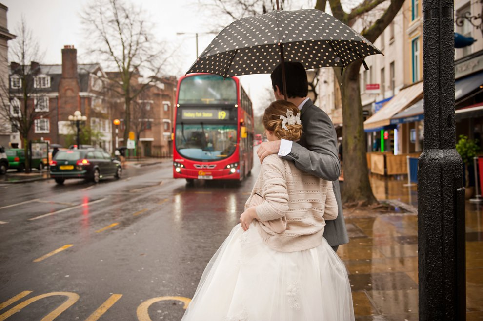 Rainy wedding london wedding photographers