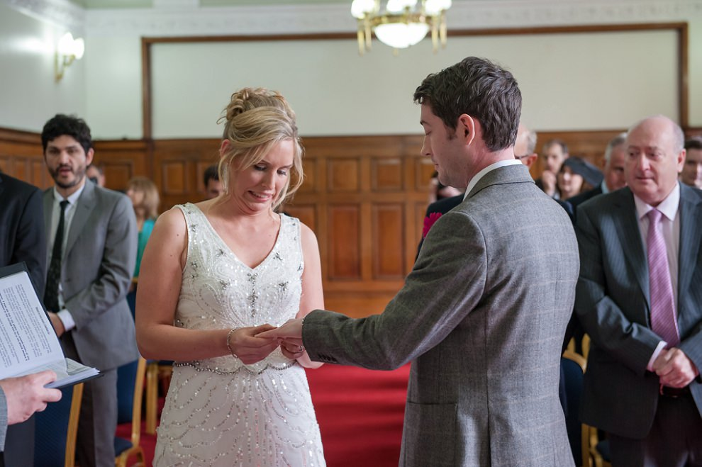 Ring exchange at Islington town hall wedding