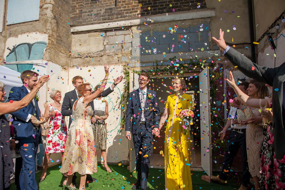Colourful confetti Peckham wedding