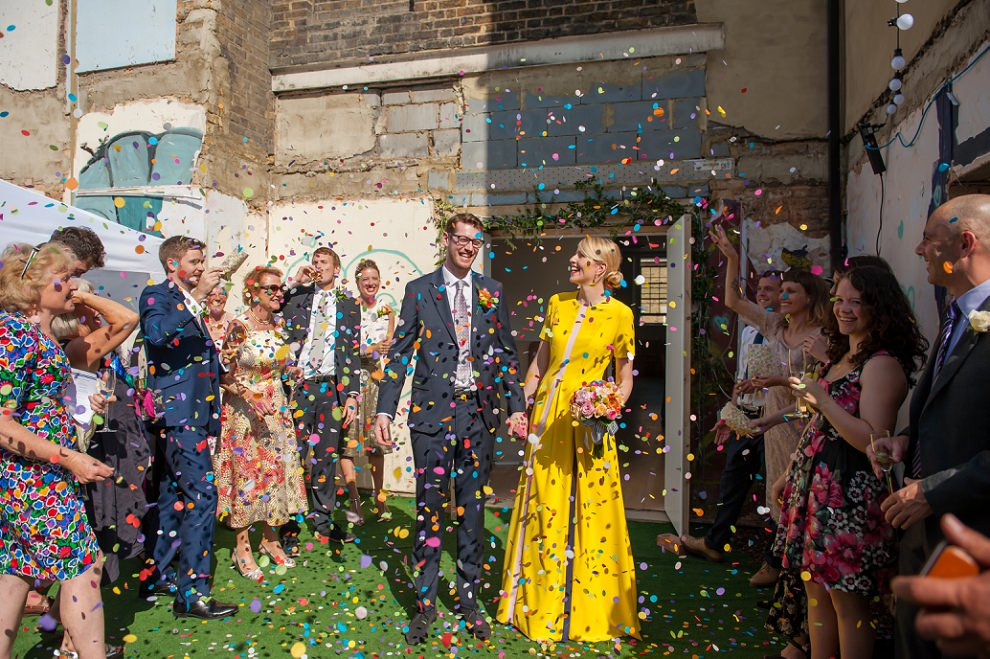 Rainbow confetti wedding Peckham