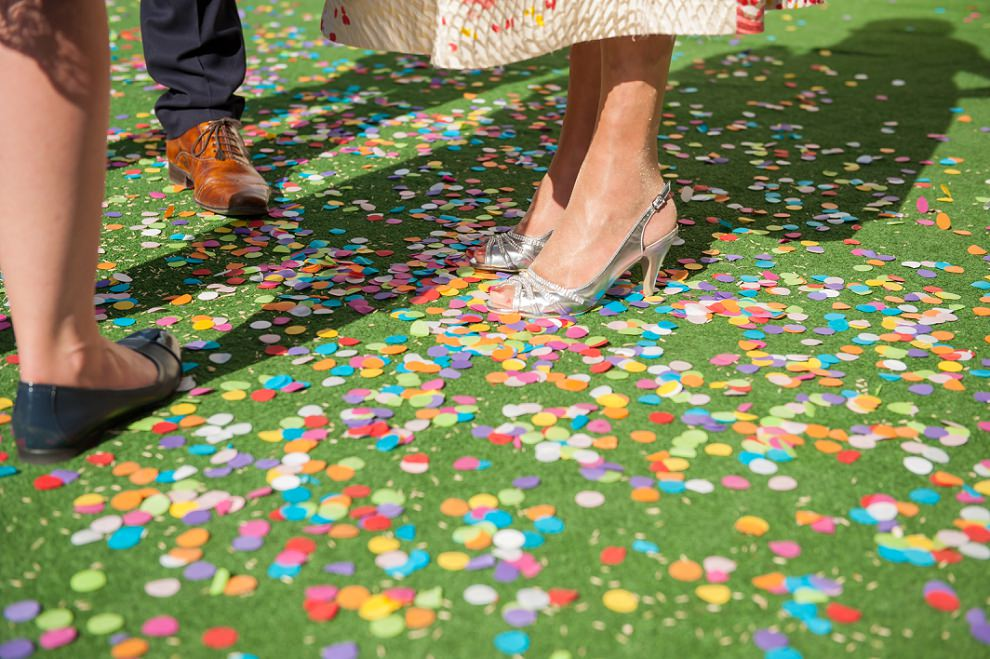 Rainbow confetti South London wedding