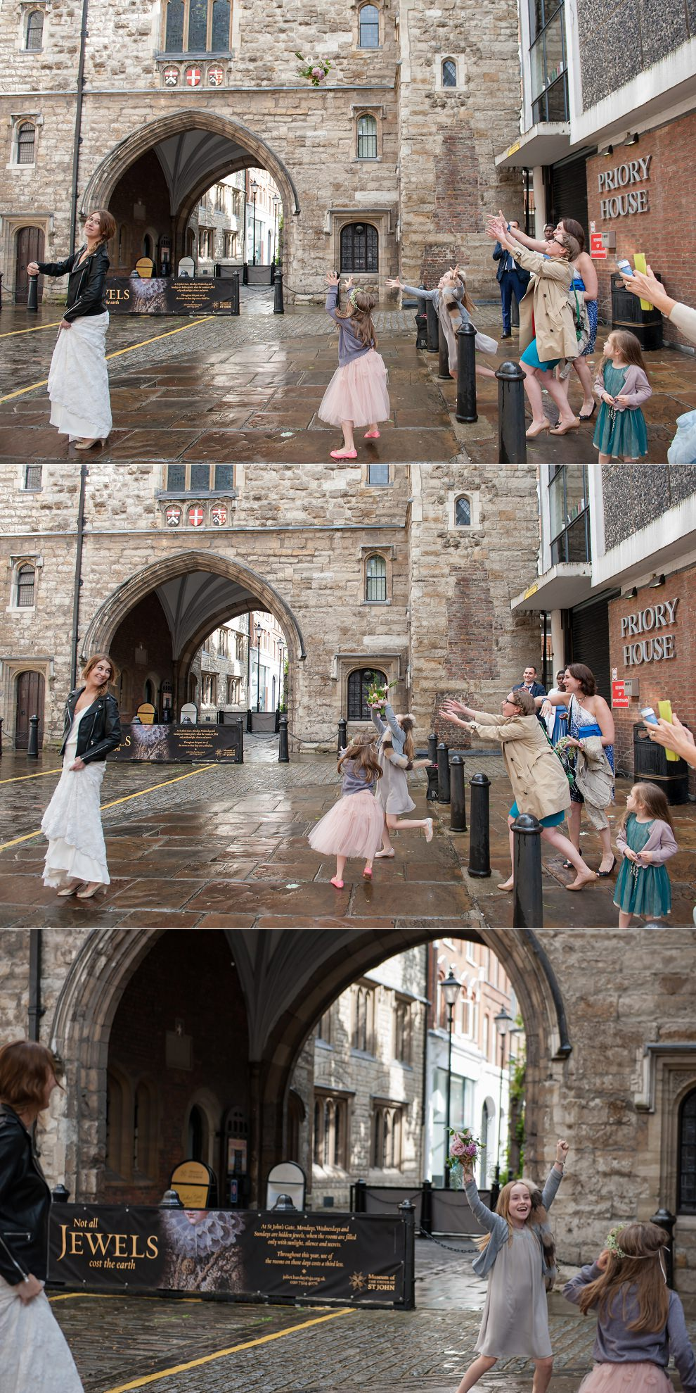 London wedding photographer - bouquet toss outside