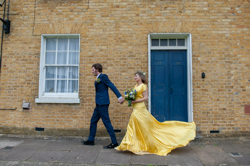 Flowing yellow wedding gown