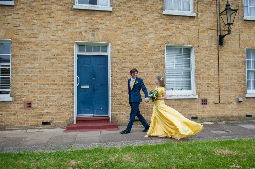 Flowing yellow wedding dress