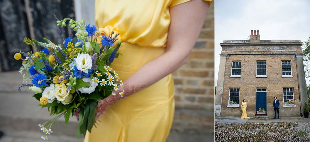 Blue yellow wedding bouquet