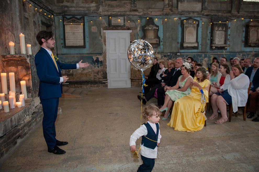 Pageboy runs through speeches Wedding Asylum Peckham