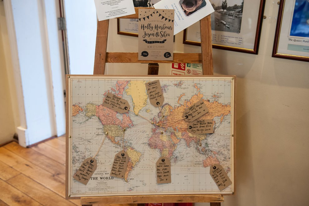World map seating plan wedding