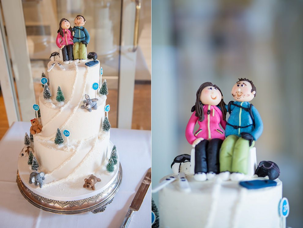 Ski wedding cake with personalised cake toppers
