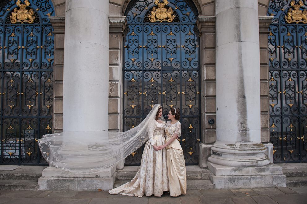 flying veil wedding Greenwich London