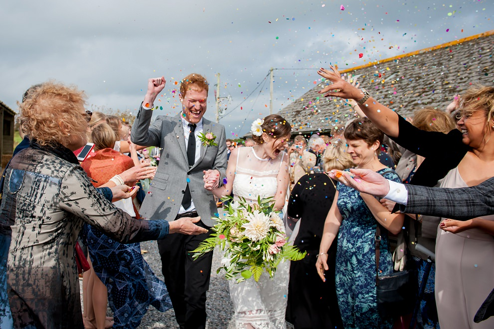 coloured confetti wedding