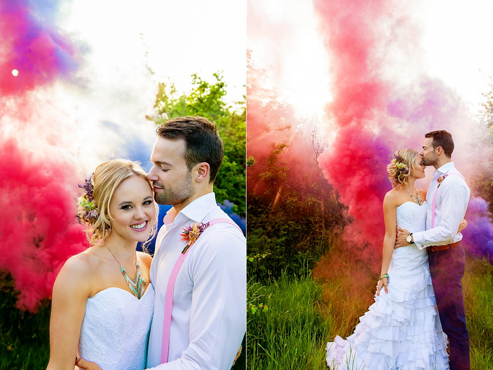 red blue smoke bombs wedding