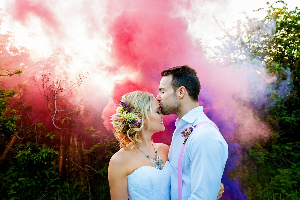 wedding smoke grenades at sunset