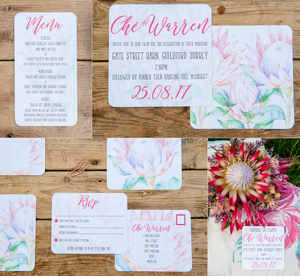 protea stationery wedding