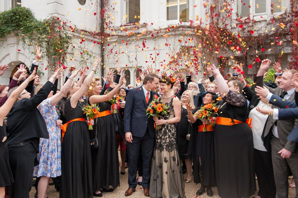 Orange wedding confetti for Halloween