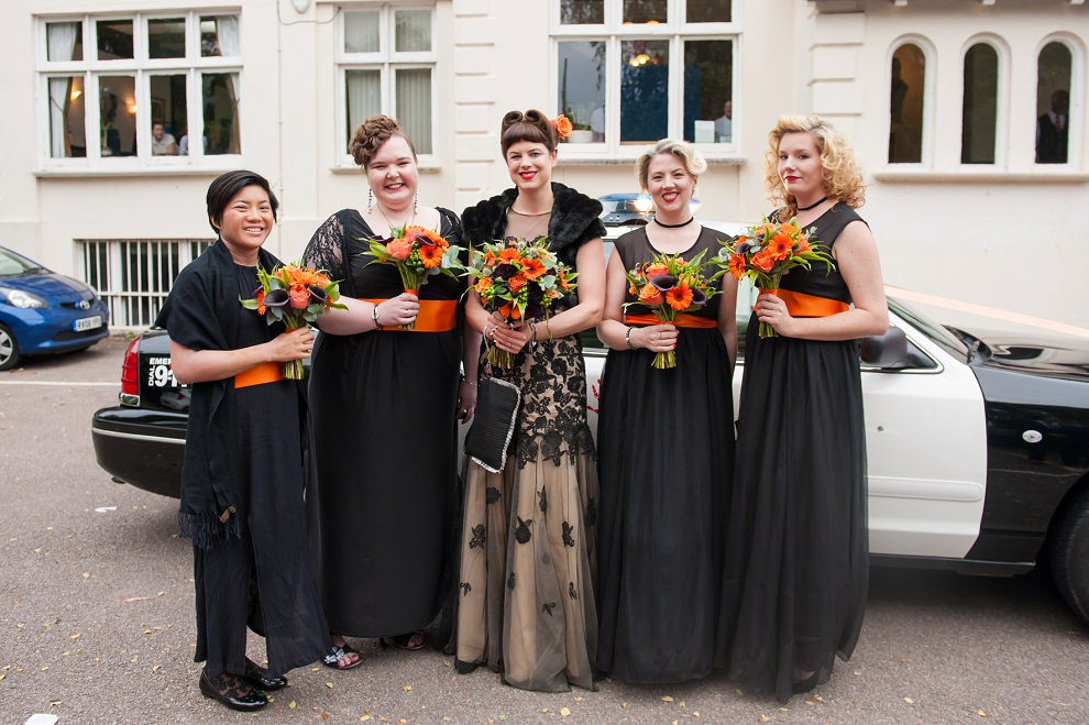 Halloween wedding bridesmaids